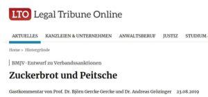 In eigener Sache: Hinweis zu meinem Beitrag in Legal Tribune Online (LTO) zum Entwurf eines VerSanG